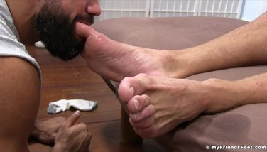 Weird Shaven Hairy Man Strokes His Man Meat While Being Toe Fellated
